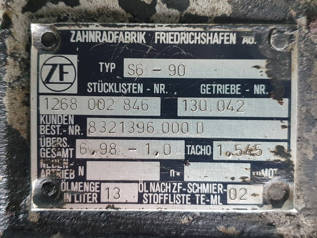 Cutie de viteza ZF S6-90, Stücklisten Nr. 1268 002 846  / 6,98-1,0